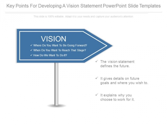 Key Points For Developing A Vision Statement Powerpoint Slide Templates