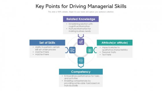 Key Points For Driving Managerial Skills Ppt PowerPoint Presentation Gallery Graphics Template PDF