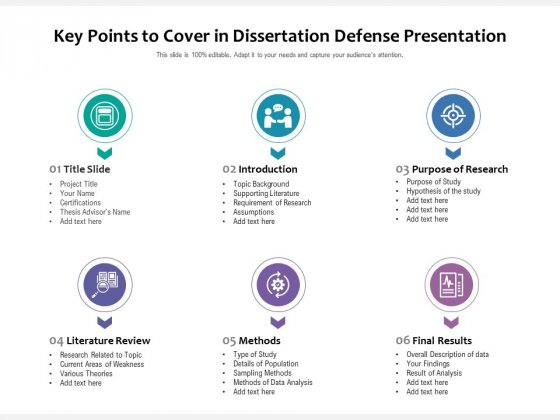 Key Points To Cover In Dissertation Defense Presentation Ppt PowerPoint Presentation Gallery Icon PDF