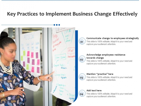 Key Practices To Implement Business Change Effectively Ppt PowerPoint Presentation Gallery Pictures PDF