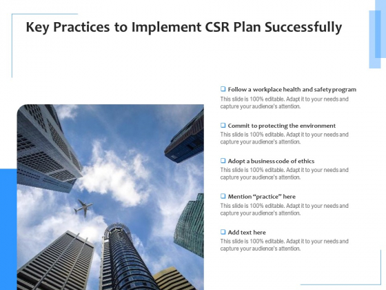 Key Practices To Implement CSR Plan Successfully Ppt PowerPoint Presentation File Information PDF