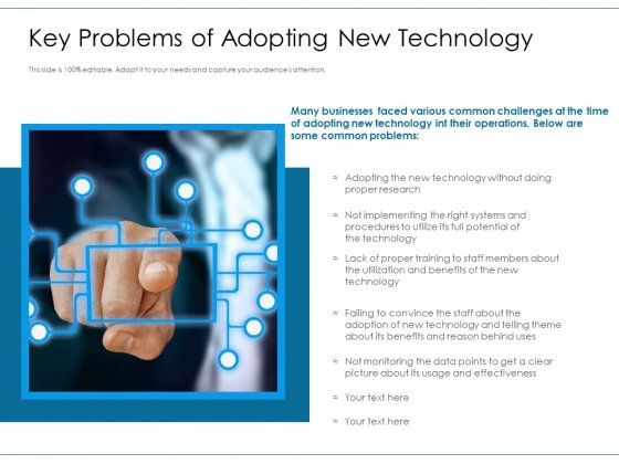 Key Problems Of Adopting New Technology Ppt PowerPoint Presentation File Gallery PDF