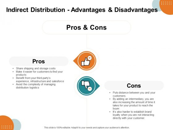 Key Product Distribution Channels Indirect Distribution Advantages And Disadvantages Ppt Outline Maker PDF