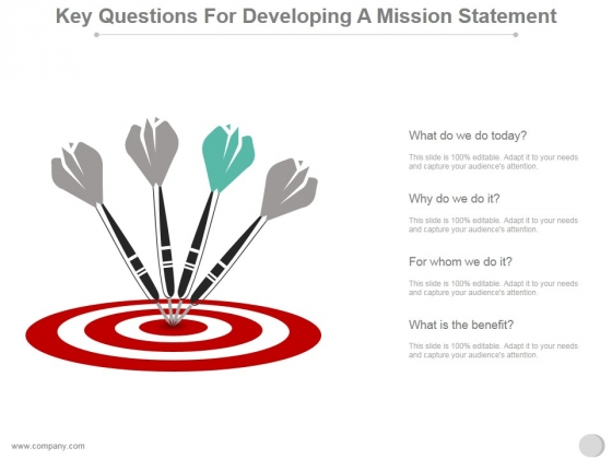 Key Questions For Developing A Mission Statement Ppt PowerPoint Presentation Slide Download