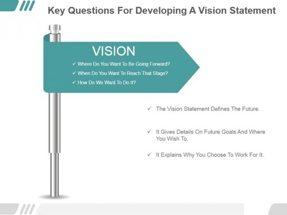 Key Questions For Developing A Vision Statement Ppt PowerPoint Presentation Picture