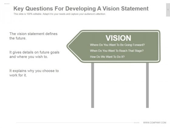 Key Questions For Developing A Vision Statement Ppt PowerPoint Presentation Tips