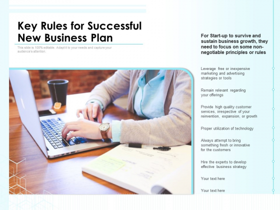 Key Rules For Successful New Business Plan Ppt PowerPoint Presentation File Shapes PDF