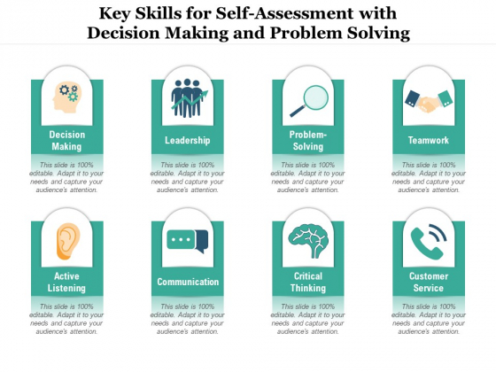Key Skills For Self Assessment With Decision Making And Problem Solving Ppt PowerPoint Presentation File Graphics Pictures PDF