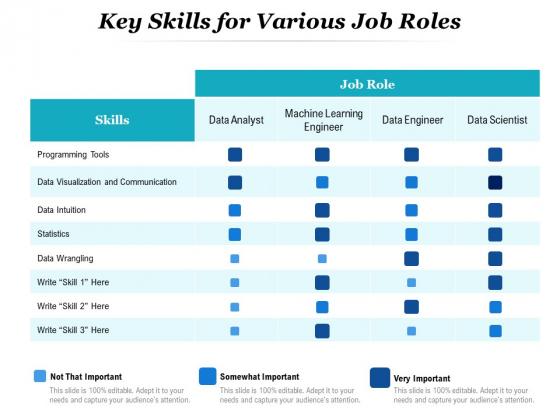 Key Skills For Various Job Roles Ppt PowerPoint Presentation Pictures Portrait PDF