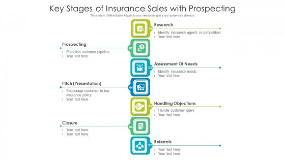Key Stages Of Insurance Sales With Prospecting Ppt PowerPoint Presentation File Visual Aids PDF