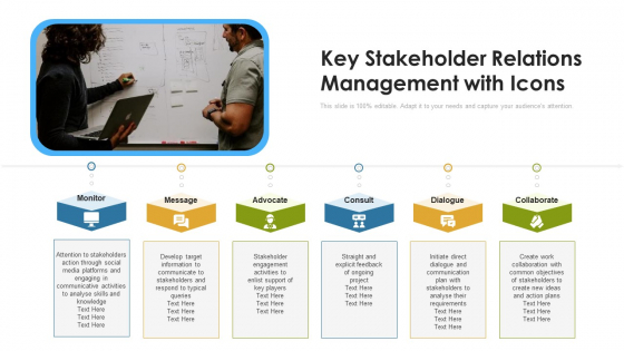 Key Stakeholder Relations Management With Icons Ppt Professional Guidelines PDF