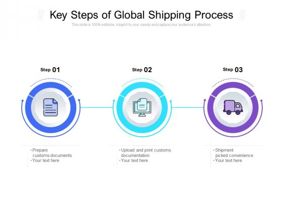 Key Steps Of Global Shipping Process Ppt PowerPoint Presentation Slides Backgrounds PDF