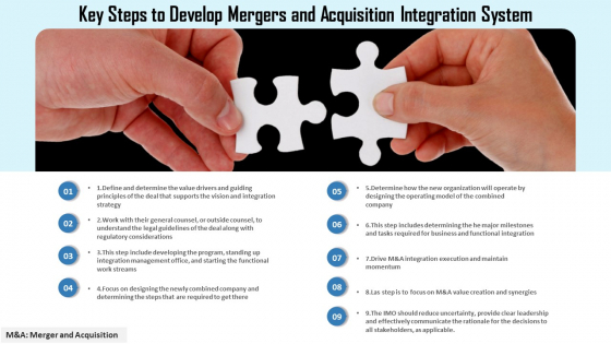 Key Steps To Develop Mergers And Acquisition Integration System Ppt PowerPoint Presentation Model Show PDF