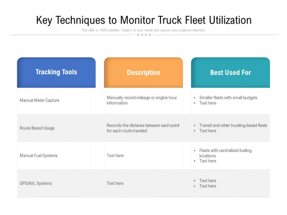 Key Techniques To Monitor Truck Fleet Utilization Ppt PowerPoint Presentation Icon Graphics Pictures PDF