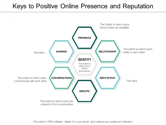Keys To Positive Online Presence And Reputation Ppt PowerPoint Presentation Infographic Template Influencers