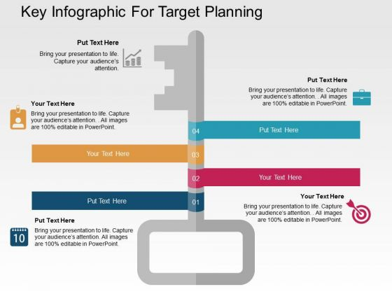 Key Infographic For Target Planning PowerPoint Templates