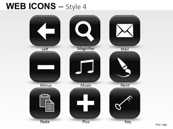 Key Web Icons PowerPoint Slides And Ppt Clipart