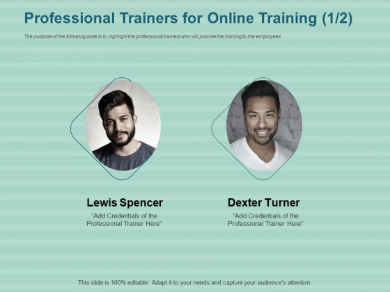 LMS Development Session Professional Trainers For Online Training Teamwork Background PDF