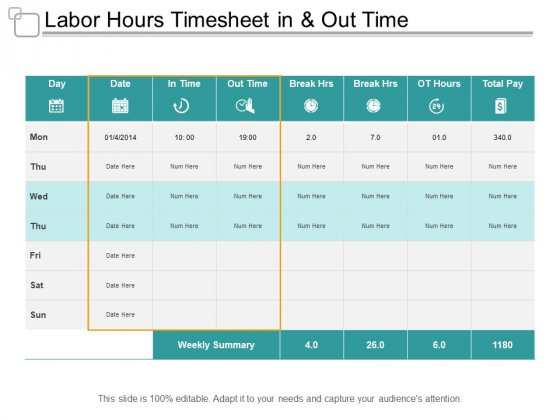Labor Hours Timesheet In And Out Time Ppt PowerPoint Presentation Pictures Slides