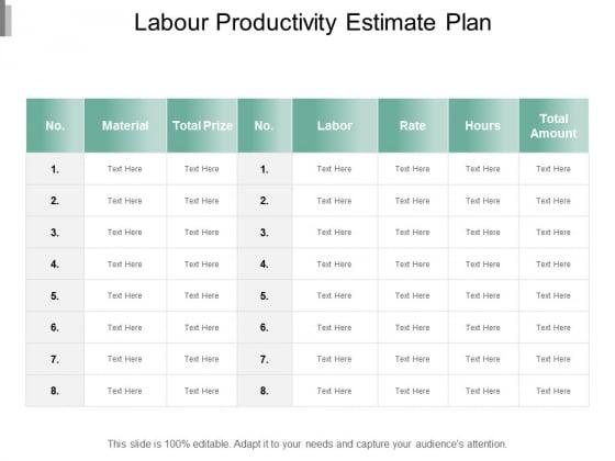 Labour Productivity Estimate Plan Ppt Powerpoint Presentation Summary Samples