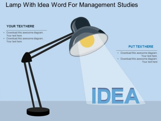 Lamp With Idea Word For Management Studies Powerpoint Template