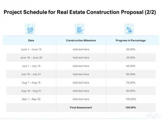 Land Holdings Building Project Schedule For Real Estate Construction Proposal Milestone Inspiration PDF