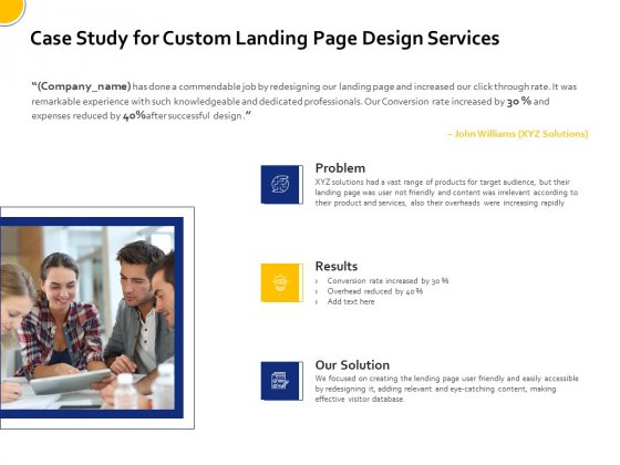 Landing Page Design Optimization Case Study For Custom Landing Page Design Services Guidelines PDF