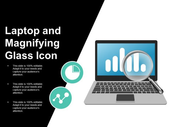 Laptop And Magnifying Glass Icon Ppt PowerPoint Presentation Outline Clipart Images