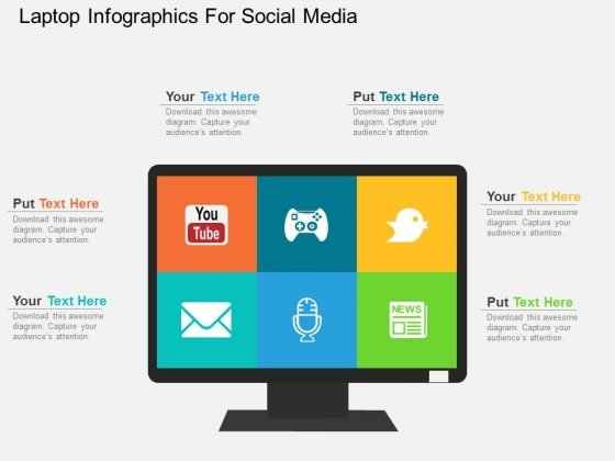 Laptop Infographics For Social Media Powerpoint Templates