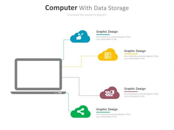 Laptop With Data Storage And Management Icons Powerpoint Template