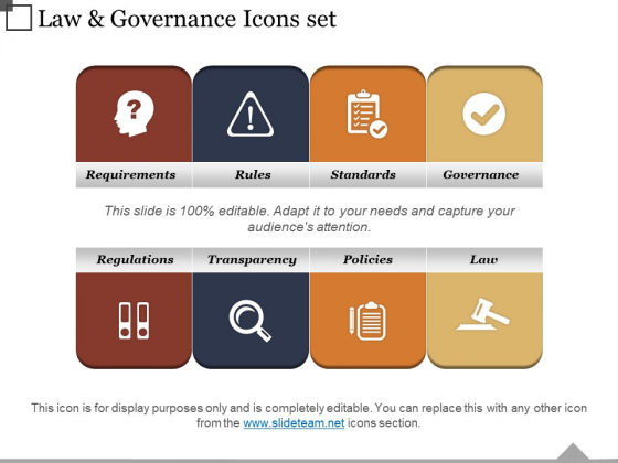 Law And Governance Icons Set Ppt PowerPoint Presentation Inspiration Design Templates