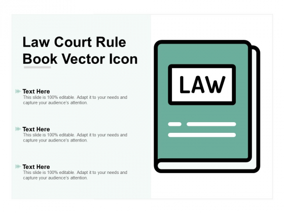 Law Court Rule Book Vector Icon Ppt Powerpoint Presentation Information