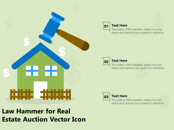 Law Hammer For Real Estate Auction Vector Icon Ppt PowerPoint Presentation Show File Formats PDF