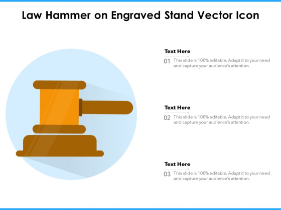 Law Hammer On Engraved Stand Vector Icon Ppt PowerPoint Presentation Model Background PDF