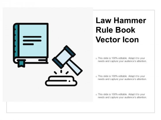 Law Hammer Rule Book Vector Icon Ppt Powerpoint Presentation Outline Icon