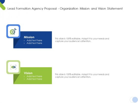 Lead Formation Agency Proposal Organization Mission And Vision Statement Ppt Pictures Slides PDF