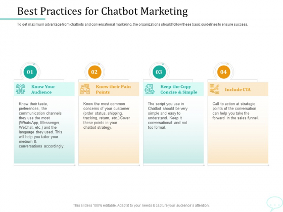 Lead Generation Initiatives Through Chatbots Best Practices For Chatbot Marketing Template PDF