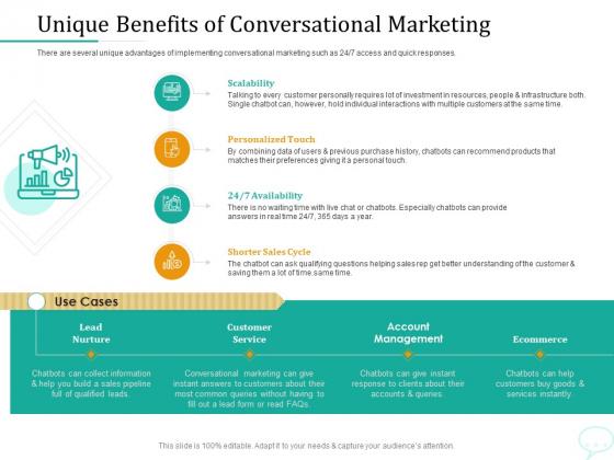 Lead Generation Initiatives Through Chatbots Unique Benefits Of Conversational Marketing Mockup PDF