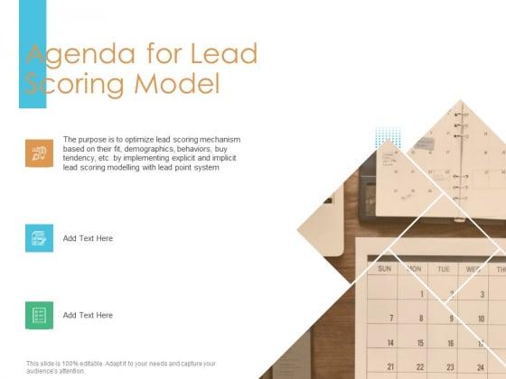 Lead Scoring Model Agenda For Lead Scoring Model Ppt Show Design Inspiration PDF
