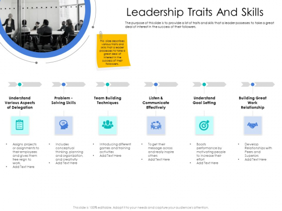 Leader Vs Administrators Leadership Traits And Skills Ppt Outline Images PDF