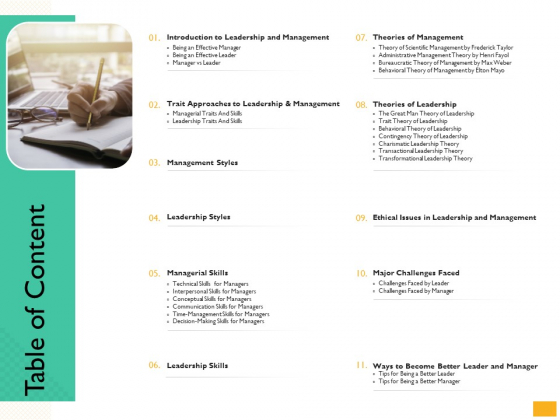 Leaders Vs Managers Table Of Content Ppt Layouts Slide Portrait PDF