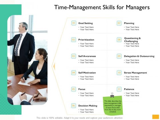 Leaders Vs Managers Time Management Skills For Managers Ppt Inspiration Show PDF