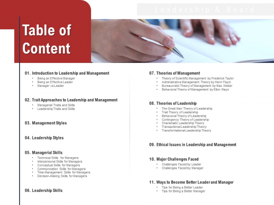 Leadership And Management Table Of Content Themes PDF