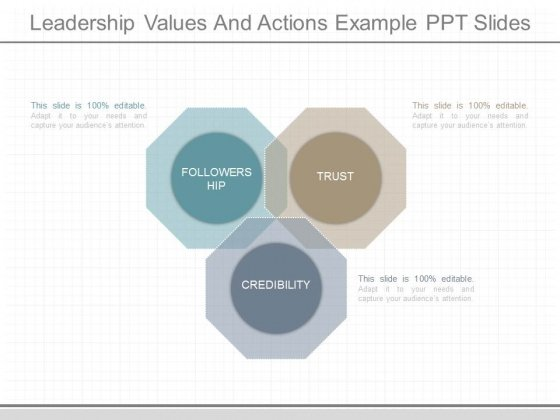 Leadership Values And Actions Example Ppt Slides