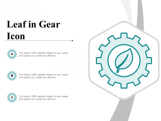 Leaf In Gear Icon Ppt PowerPoint Presentation Visual Aids Professional