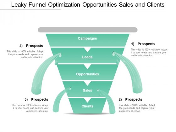Leaky Funnel Optimization Opportunities Sales And Clients Ppt PowerPoint Presentation Outline Background Images