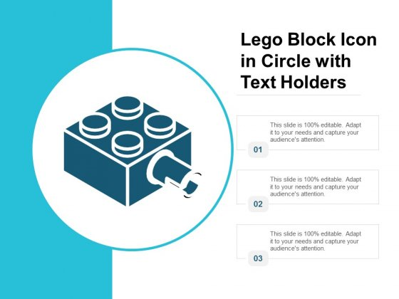 Lego Block Icon In Circle With Text Holders Ppt Powerpoint Presentation Ideas Objects