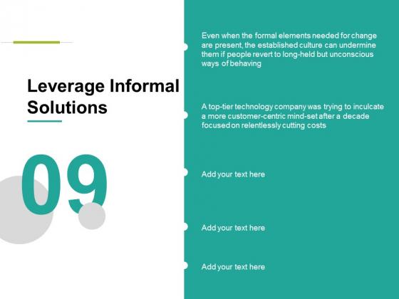 Leverage Informal Solutions Ppt PowerPoint Presentation Ideas Graphics Tutorials
