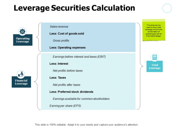 Leverage Securities Calculation Gears Ppt PowerPoint Presentation Slides Topics