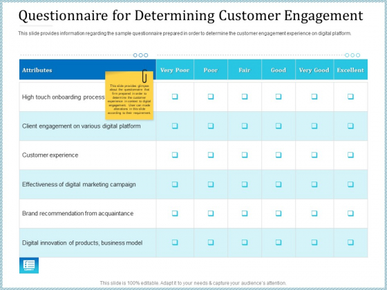 Leveraged Client Engagement Questionnaire For Determining Customer Engagement Information PDF
